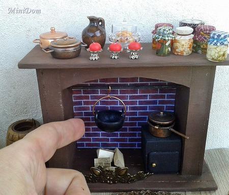 """Мебель аксессуары для кукольной миниатюры """"Камин"""" ручной работы на заказ"""