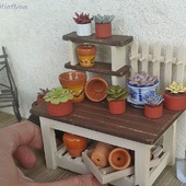 Цветочный прилавок для кукольной миниатюры -Аксессуары в кукольный дом