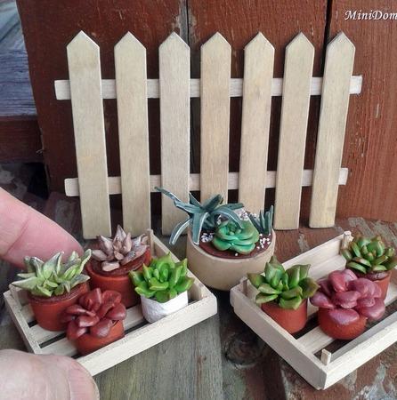 Суккуленты для кукольной миниатюры - Аксессуары для кукол ручной работы на заказ