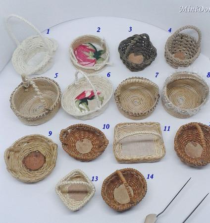 Корзинки для кукольной миниатюры - Аксессуары для кукол ручной работы на заказ