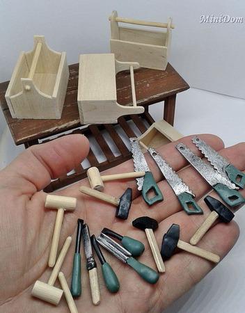 Ящик для инструментов в кукольный дом - Аксессуары для кукол ручной работы на заказ