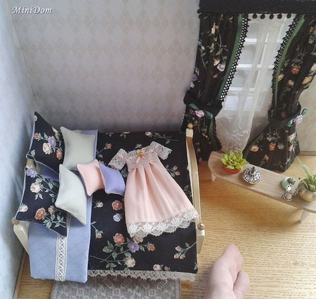 Шторы и постельное белье для кукольного домика - Аксессуары для кукол ручной работы на заказ