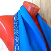 """Голубой шарф ручной работы из ткани """"Лазурный берег"""""""