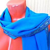 """Голубой палантин ручной работы из ткани """"Лазурный берег"""""""