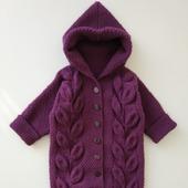 Хлопковый теплый комбинезон для новорожденного с капюшоном