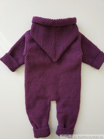 Хлопковый теплый комбинезон для новорожденного с капюшоном ручной работы на заказ