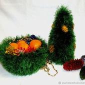 Комплект вязаный для украшения новогоднего стола Елочка
