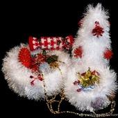Комплект вязаный для украшения новогоднего стола Белоснежка