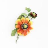 Брошь яркая оранжевая желтая красная цветок гелениума