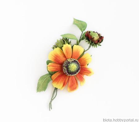 Брошь яркая оранжевая желтая красная цветок гелениума ручной работы на заказ