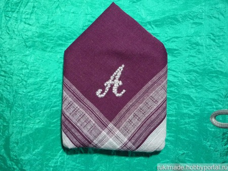 Мужской носовой платок с инициалом А ручной работы на заказ