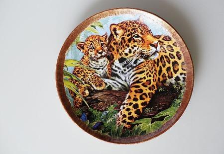 "Тарелочка ""Леопарды"" ручной работы на заказ"