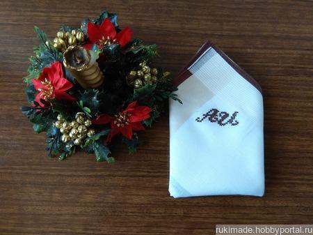Мужской носовой платок с монограммой АИ ручной работы на заказ