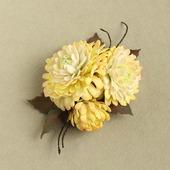 Брошь желтые цветы астры, хризантемы из фоамирана