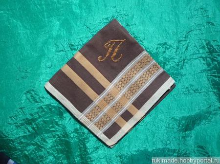 Носовой платок мужской с инициалом П ручной работы на заказ