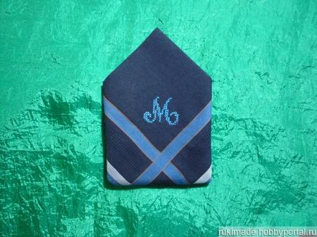 Мужской носовой платок с инициалом М ручной работы на заказ
