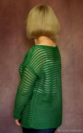 """Джемпер """"Тельняшка"""" зеленого цвета ручной работы на заказ"""