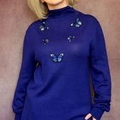 Удлиненный свитер синего цвета