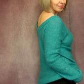 Пуловер с пайетками цвета лагуна