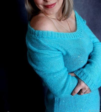 """Пуловер """"Астрид"""" цвета бирюзы ручной работы на заказ"""