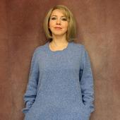 Твидовое голубое платье 50-54 размер