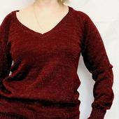 Пуловер цвета марсала с золотым люрексом