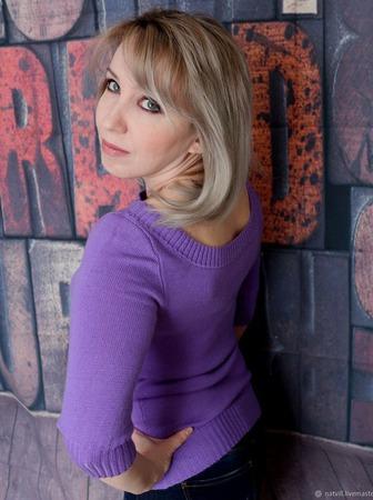 Кашемировый джемпер лилового цвета ручной работы на заказ