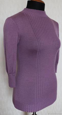 Джемпер цвета пыльной сирени ручной работы на заказ