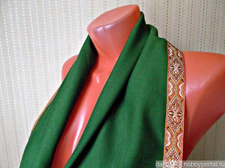 """Зеленый шарф ручной работы из ткани """"Лесная сказка"""" модель 3 ручной работы на заказ"""
