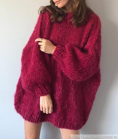 Стильный вязаный мохеровый свитер в Екатеринбурге ручной работы на заказ