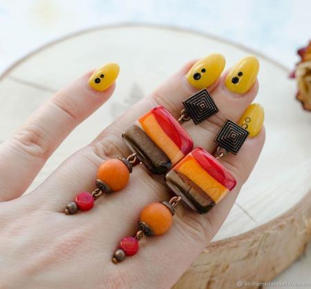 """Серьги """"Осень"""" ручной работы на заказ"""