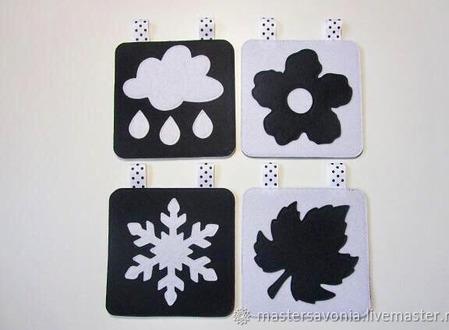 Черно-белые карточки для новорожденных ручной работы на заказ