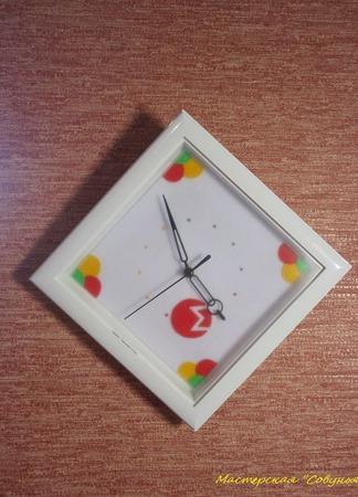 """Часы настенные с логотипом """"Монро"""" ручной работы на заказ"""