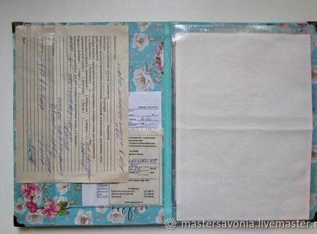 """Папка для свидетельства о рождении """"Мятная"""" ручной работы на заказ"""
