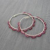 """Серьги-кольца """"Raspberry lace"""" из серебра с гранатом"""