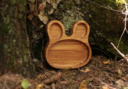 """Детская деревянная тарелка """"Зайчик"""" ручной работы на заказ"""