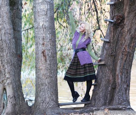 Двойная юбка миди на зиму ручной работы на заказ