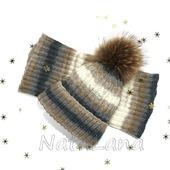Детский комплект: шапка с меховым помпоном и снуд