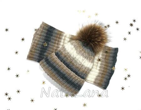 Детский комплект: шапка с меховым помпоном и снуд ручной работы на заказ