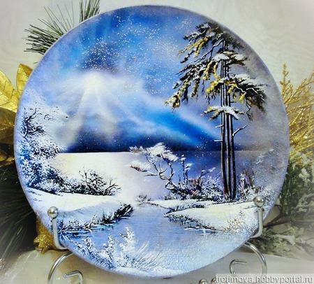 Декоративная новогодняя тарелка ручной работы на заказ