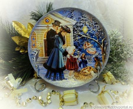 """Тарелка декоративная """"Рождество"""" ручной работы на заказ"""