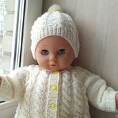 Вязаный комбинезон+шапочка+пинетки для малышей