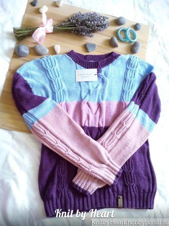 """Полосатый вязаный свитер """"BANDS"""" ручной работы на заказ"""
