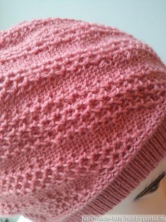 Розовый берет Бини ручной работы на заказ