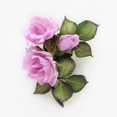 Брошь ветка нежных розовых роз