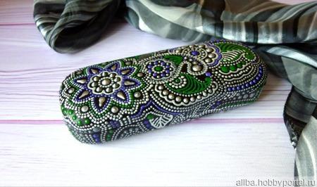 Футляр для очков серебряный мехенди точечная роспись ручной работы на заказ
