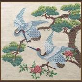 Японские журавли. Вышитая картина крестом