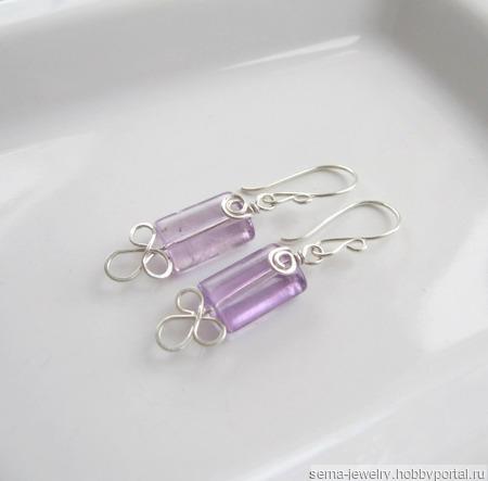 """Серьги """"Delicate irises"""" из серебра и аметистов ручной работы на заказ"""