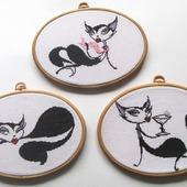 """Комплект вышитых картин крестом """"Гламурные кошки"""""""