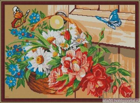 """Схема для вышивки крестом """"Корзина с цветами и бабочки"""" ручной работы на заказ"""